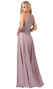 Dancing Queen - 2716 Embroidered Halter A-Line Dress In Pink