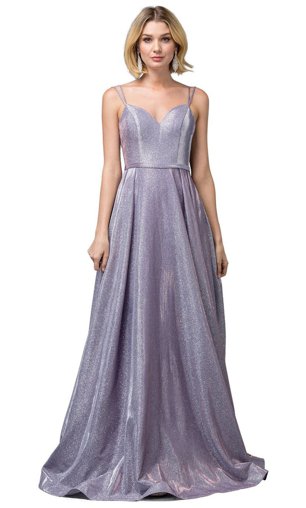 Dancing Queen - 2720 Sleeveless V-Neck Shimmer A-Line Gown In Purple