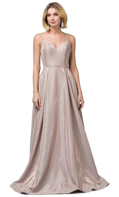 Dancing Queen - 2720 Sleeveless V-Neck Shimmer A-Line Gown In Champagne & Gold