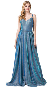 Dancing Queen - 2720 Sleeveless V-Neck Shimmer A-Line Gown In Blue