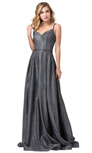 Dancing Queen - 2720 Sleeveless V-Neck Shimmer A-Line Gown In Silver & Gray
