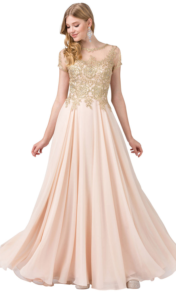 Dancing Queen - 2727 Embroidered Bateau Neck A-Line Gown In Neutral