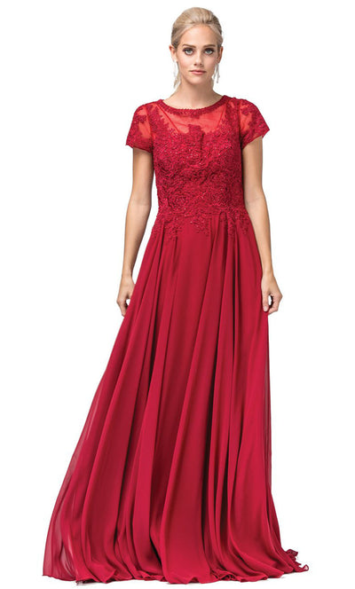 Dancing Queen - 2727 Embroidered Bateau Neck A-Line Gown In Red