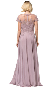 Dancing Queen - 2727 Embroidered Bateau Neck A-Line Gown In Brown