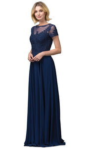 Dancing Queen - 2727 Embroidered Bateau Neck A-Line Gown In Blue