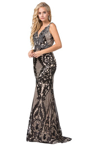 Dancing Queen - 2733 Embellished Lattice Trumpet Gown In Black