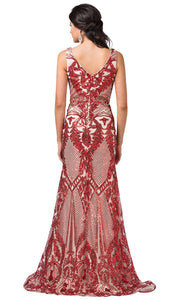 Dancing Queen - 2733 Embellished Lattice Trumpet Gown In Red
