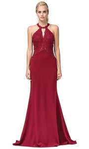 Dancing Queen - 2787 Embroidered Cutout Halter Long Dress In Burgundy