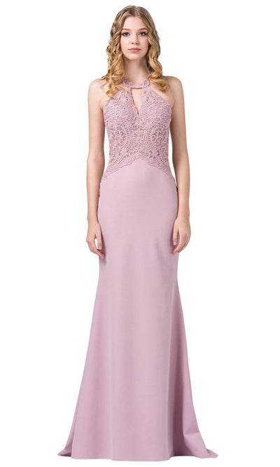 Dancing Queen - 2787 Embroidered Cutout Halter Long Dress In Pink