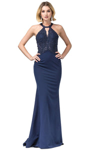 Dancing Queen - 2787 Embroidered Cutout Halter Long Dress In Blue