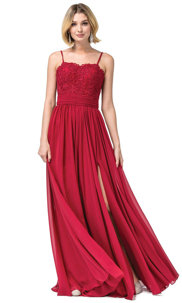 Dancing Queen - 2789 Sleeveless Lace Bodice Slit A-Line Gown In Burgundy