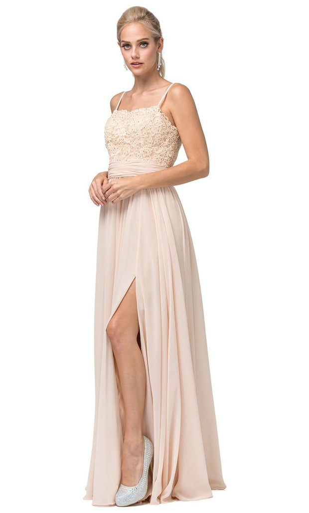 Dancing Queen - 2789 Sleeveless Lace Bodice Slit A-Line Gown In Champagne & Gold