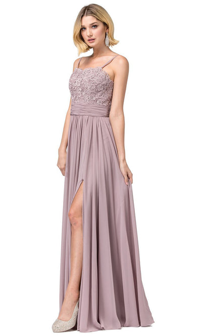 Dancing Queen - 2789 Sleeveless Lace Bodice Slit A-Line Gown In Brown