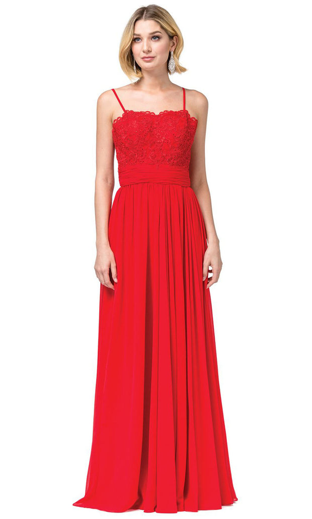 Dancing Queen - 2789 Sleeveless Lace Bodice Slit A-Line Gown In Red