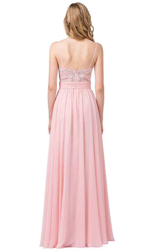 Dancing Queen - 2789 Sleeveless Lace Bodice Slit A-Line Gown In Pink