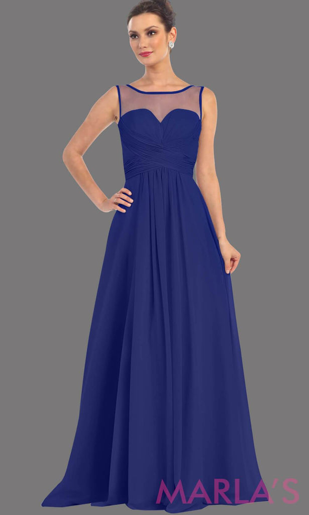 3770e92b ... Navy high neck dress with a flowy chiffon skirt. It has sheer mesh  neckline with ...