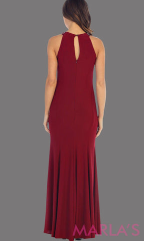 Back of a beautiful high neck burgundy fitted long dress with rhinestone neck. This is a perfect dark red dress for prom, sleek and sexy wedding guest dress, or a tight fitted party dress. Available in plus sizes.