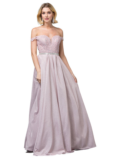 Dancing Queen - 2820 Off Shoulder Glittered A-Line Gown In Pink