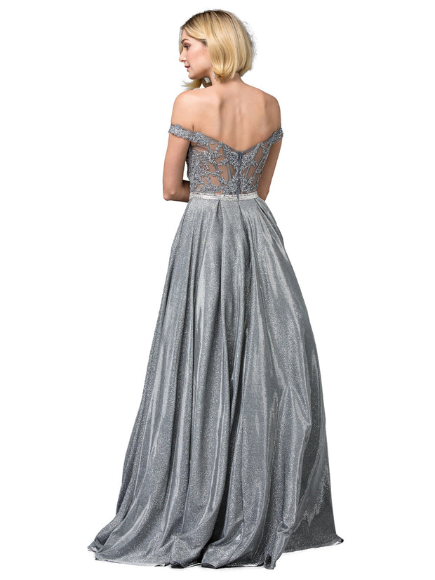 Dancing Queen - 2820 Off Shoulder Glittered A-Line Gown In Gray and Silver