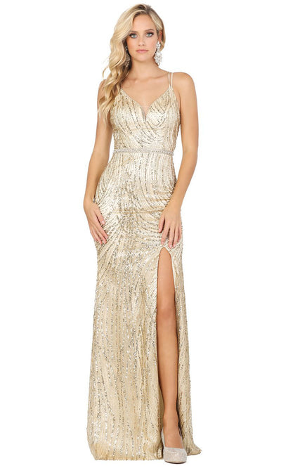 Dancing Queen - 2826 Embellished Plunging V Neck Trumpet Dress In Gold