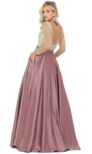 Dancing Queen - 2840 Jeweled Long Sleeve A-Line Dress In Pink
