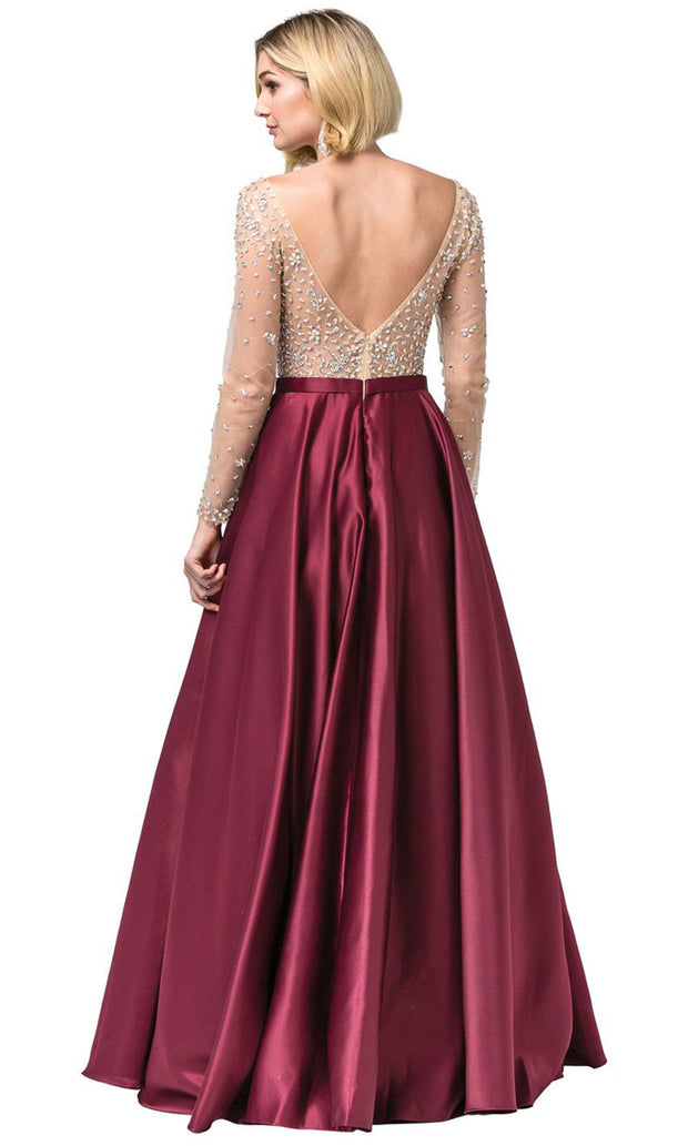 Dancing Queen - 2840 Jeweled Long Sleeve A-Line Dress In Burgundy
