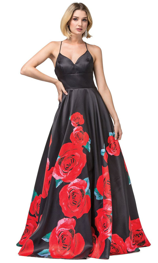 Dancing Queen - 2843 Floral Printed Taffeta Long Gown In Black and Red