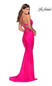 Back of La Femme LF 28905 long neon pink prom tight fitted sexy prom dress with open back. This hot pink or bright pink sleek and sexy, low back formal full length evening gown is perfect for 2020 prom