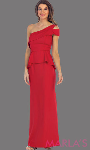 Long one shoulder red simple dress. Perfect red prom dress, simple and classy bridesmaid dress, elegant red wedding guest dress. Available in plus sizes.