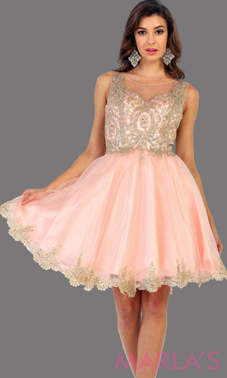 Short high neck pink grade 8 grad puffy dress with gold lace. This blush grade 8 graduation short dress and pretty. Can be worn for quinceanera damas, short prom dress, bah mitzvah, sweet 16, confirmation.  Avail in plus size