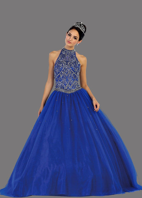 * Long Halter Beaded Bodice Royal Blue Ball Gown with Corset