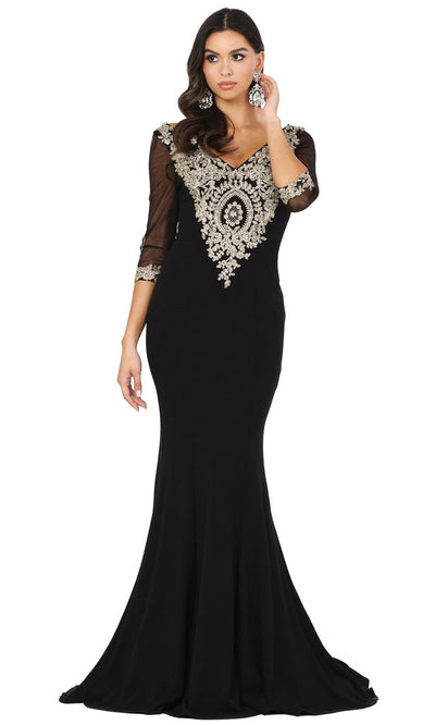Dancing Queen - 2911 Metallic Lace Applique Quarter Sleeve Gown In Black