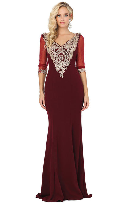 Dancing Queen - 2911 Metallic Lace Applique Quarter Sleeve Gown In Burgundy