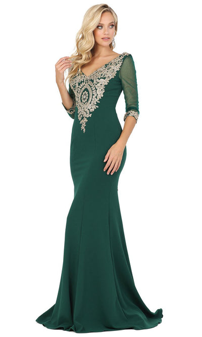 Dancing Queen - 2911 Metallic Lace Applique Quarter Sleeve Gown In Green