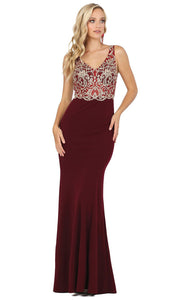 Dancing Queen - 2912 Embroidered V Neck Trumpet Dress In Red
