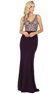 Dancing Queen - 2912 Embroidered V Neck Trumpet Dress In Purple