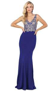 Dancing Queen - 2912 Embroidered V Neck Trumpet Dress In Blue