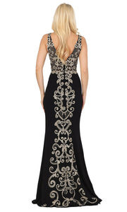Dancing Queen - 2912 Embroidered V Neck Trumpet Dress In Black