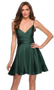 La Femme - 29242 Satin V-Neck Homecoming Dress In Green