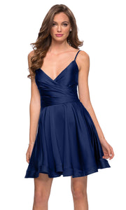 La Femme - 29242 Satin V-Neck Homecoming Dress In Blue