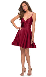 La Femme - 29242 Satin V-Neck Homecoming Dress In Red