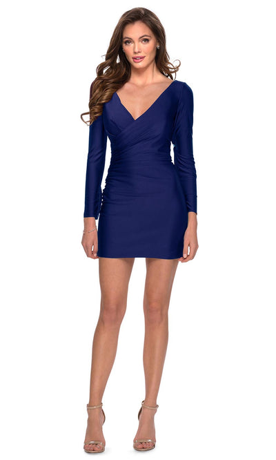 La Femme - 29243 Long Sleeve Plunging V Neck Dress In Blue