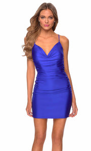 La Femme - 29260 Fitted V Neck Jersey Short Dress In Blue