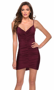 La Femme - 29262 Ruched V-Neck Fitted Party Dress In Red