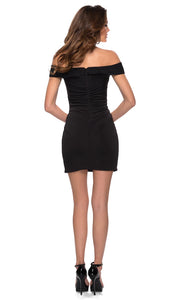 La Femme - 29279 Ruched Off Shoulder Short Dress In Black