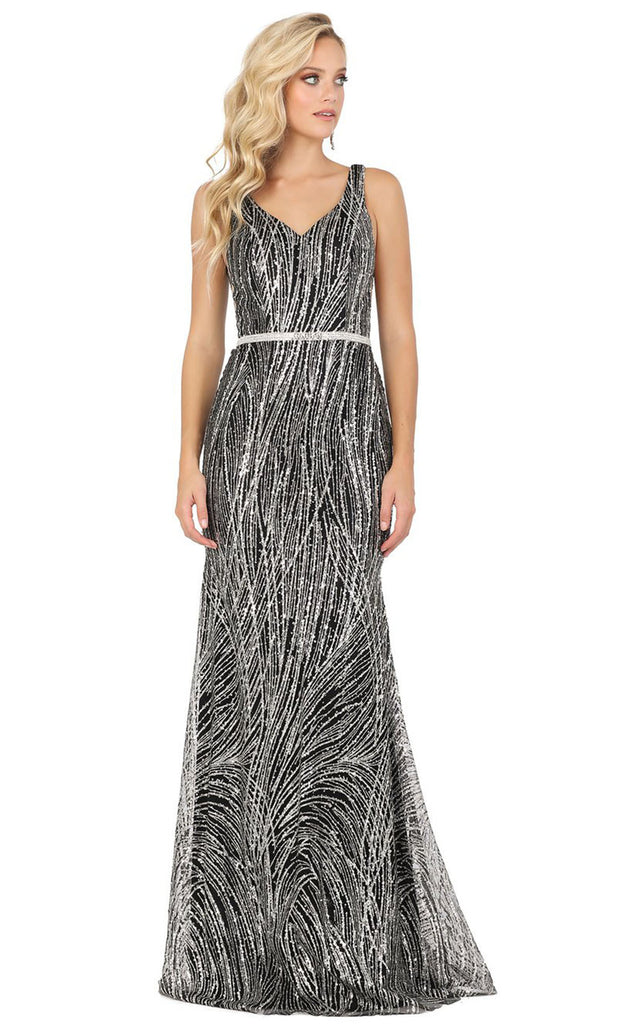 Dancing Queen - 2943 V Neck Sequined Column Dress In Black