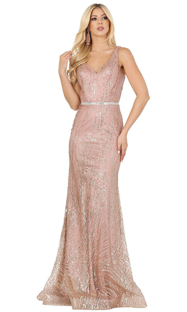 Dancing Queen - 2943 V Neck Sequined Column Dress In Pink