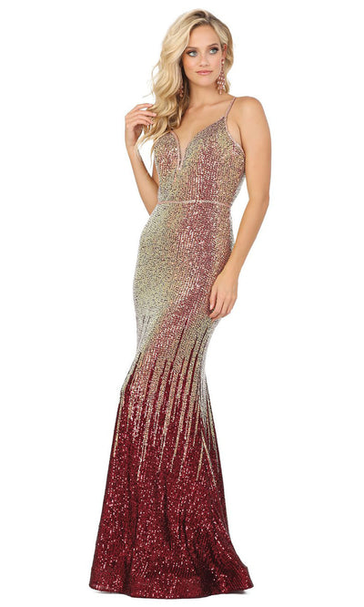 Dancing Queen - 2945 Multi-Colored Sequins Trumpet Gown In Red and Multi