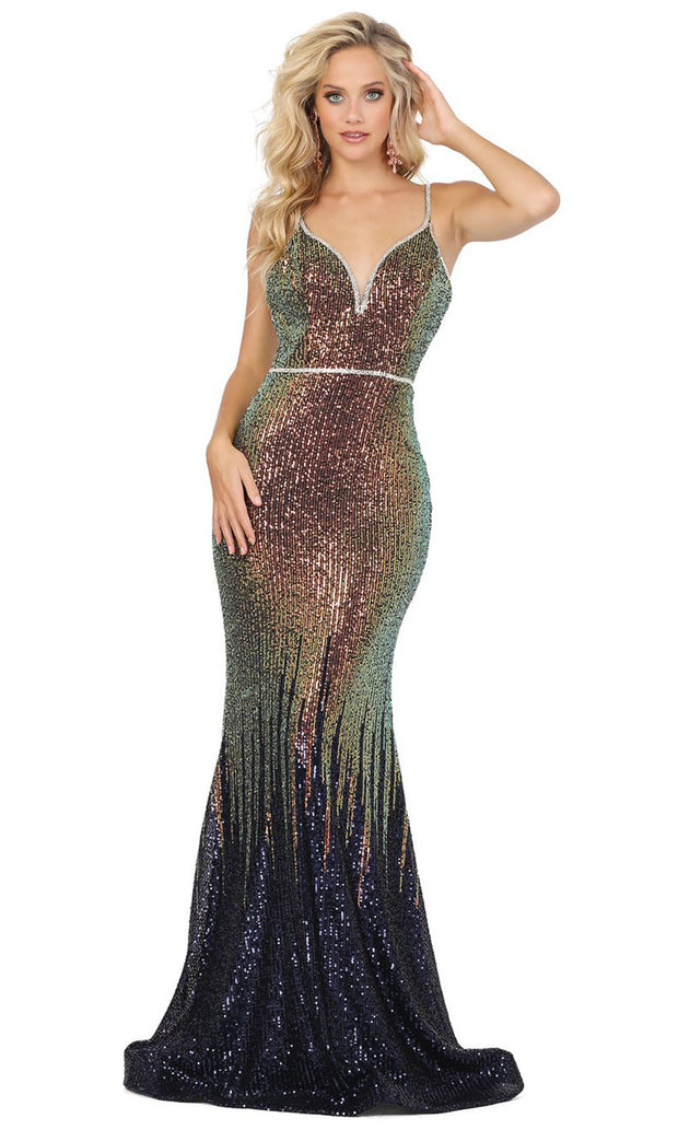 Dancing Queen - 2945 Multi-Colored Sequins Trumpet Gown In Blue and Multi