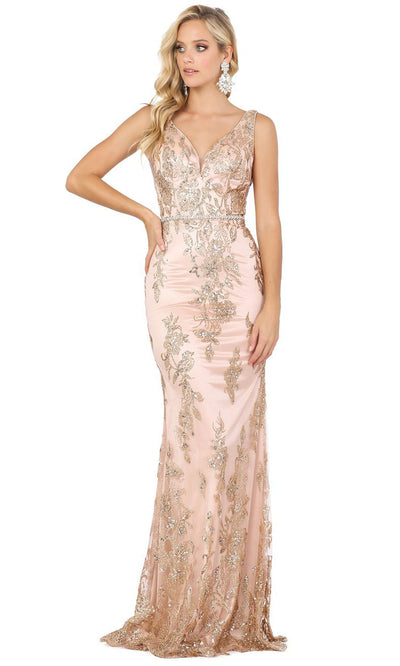 Dancing Queen - 2946 Embellished V Neck Trumpet Dress In Pink and Gold